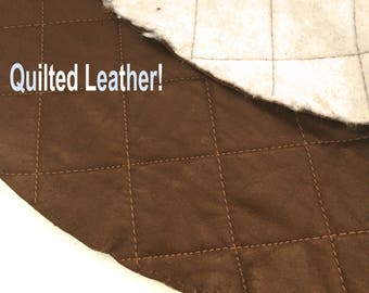 """Brown Quilted Leather  Piece / Brown Leather Fabric / Brown Leather Remnant / Chocolate Brown Leather / Genuine Leather / 21"""" Circle Scrap"""
