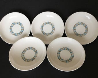 "5 Temporama 8"" Bowls, Soup, Salad Bowls by Canonsburg Pottery with Dura-Gloss"