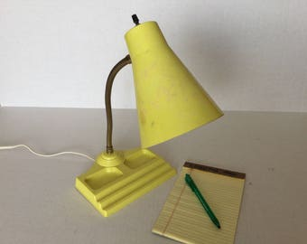 60s Plastic Desk Lamp, Yellow Gooseneck Desk Lamp with Accessories Tray