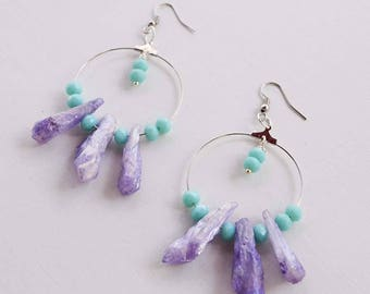 Hoop earrings, crystal quartz earrings, hoop earrings lavender and turquoise. hoop Earrings natural stones, quartz hoop earrings, hoop