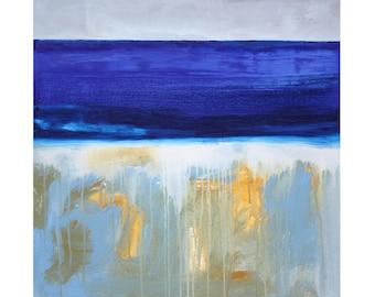 Above & Below Watery Beach landscape Abstract original painting wall art modern MCM wall decor art Atomic Ranch Paul Ashby
