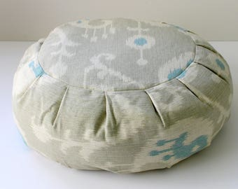 Round Zafu Buckwheat Meditation Cushion - Ocean Ikat