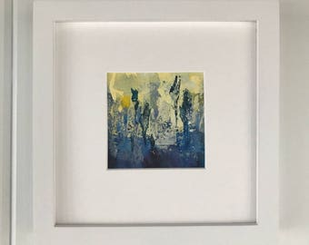 Framed original artwork - blue abstract landscape painting (B)
