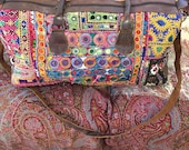 Boho handmade Indian embroidered cabin bagholdall luxury luggage leather handled gift for herhim