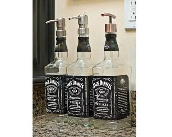 50% OFF!  Jack Daniels Whiskey Soap Dispenser / Glass Spray Bottle / Bathroom Soap Pump Bottle Kitchen Glass Soap Dispensers / Dad Gifts