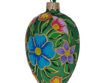 """4"""" Colorful Flowers on Green Glass Christmas Ornament"""