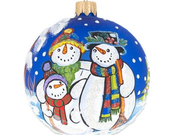 """3.25"""" Snowman Family- Husband, Wife and Child Glass Ball Christmas Ornament"""