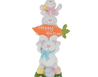 """13"""" Three Bunnies Holding Happy Easter Carrot Sign Figurine"""