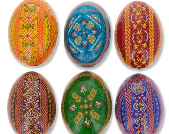 "2.25"" Set of 6 Traditional Ukrainian Pysanky Wooden Easter Eggs"