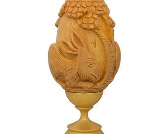 "3"" Hand Carved Bunny Rabbit Wooden Easter Egg"