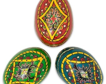 "3"" Set of 3 Rhombus Ukrainian Wooden Easter Eggs"