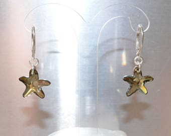 Swarovski crystal earrings Star of sea bronze shade on silver 925 silver