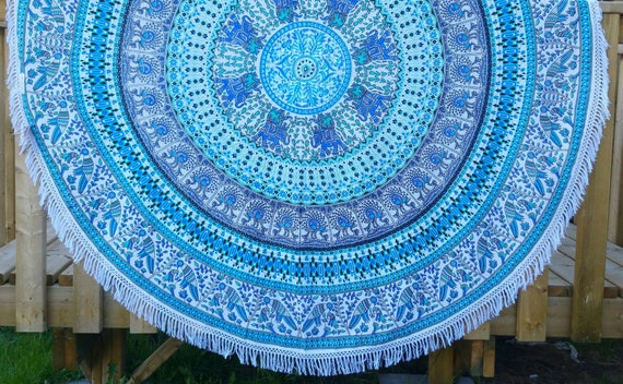 Blue Ombre Mandala Dining Table cover meditation mat Couch Throw Wall Tapestry Beach Throw Hippie Throw Picnic Throw Elephant throw