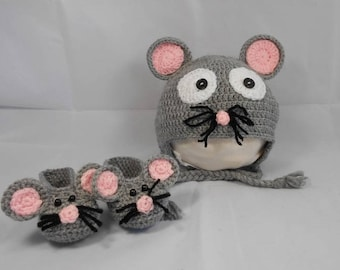 Set hat and slippers mouse baby size 3-6 month handmade