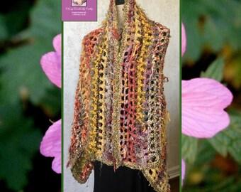 Festival Shawl, Fall Shawl, Boho Wrap, Crochet Shawl, Knit Shawl, Boho Shawl, Freeform Crochet, Handmade Shawl, Wearable Art, Fall Poncho