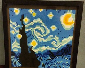 Starry Night Perler ~12×12 Frame