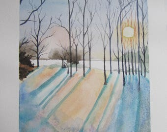 "watercolor ""sunset in winter"""