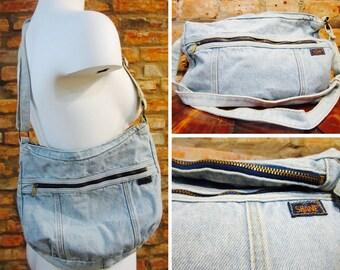 Vintage Purse • 90s Purse • 90s Vintage Denim Bag • Acid Wash Denim Purse • Shane Shoulder Bag • 90s Grunge Zippered Purse • Festival Bag •