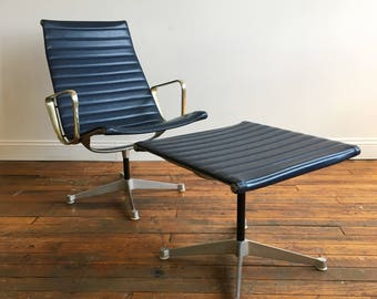Vintage Herman Miller Eames Aluminum Group Lounge Chair and Ottoman