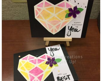 2 cards set: handstamped happy birthday thinking of you black pink purple