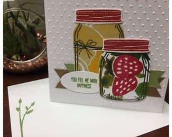 Mason Jar friendship love thinking of you thank you card handstamped handmade