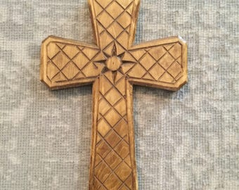 Hand-Carved Wooden Cross, Wood Cross wall art, Wooden Cross gift, Carved Cross, Baptism gift, Confirmation gift, christian family gift