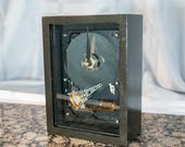 Black Handmade Clock from a recycled hard drive. Guy, husband, or boyfriend gift. A man desk clock for the creative man. Display for Desktop