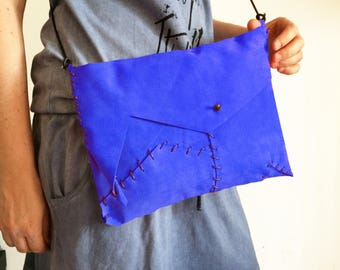 blue clutch in genuine leather, small purse hand sewn, bag in bag for her, handbag with leather shoulder, handmade handbags BBagdesign