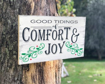 Good Tidings of Comfort and Joy Sign, Good Tidings Sign, Comfort and Joy Rustic Sign  , Holiday Rustic Sign