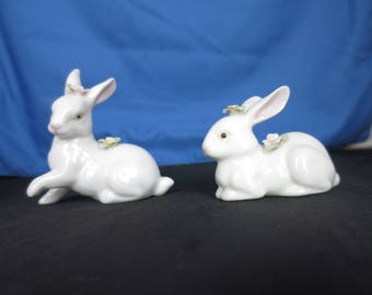 Vintage White Porcelain Bunny Rabbit Figurines set of two with applied flowers
