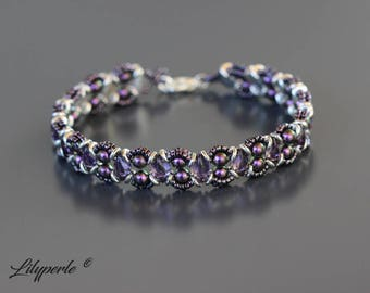 Purple and silver beaded Swarovski Elements Pearl 5810 Pearl diamonds with two holes Gemduo beads washers silver lobster clasp