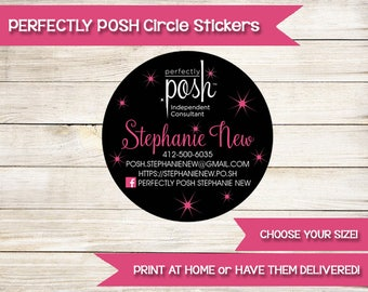 PERFECTLY POSH | Circle Stickers | Custom | Printed | Girls Facial | Direct Sales