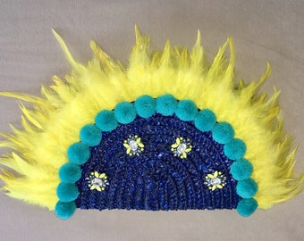 Bag blue woven straw with yellow feathers