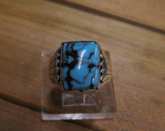 Vintage Sterling Silver Turquoise Ring Size 11