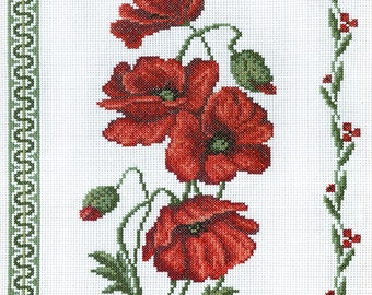 Cross Stitch Kit Poppies