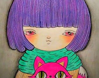 Greta and the pinky kitten