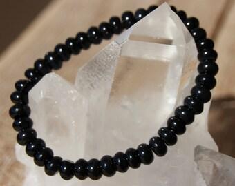 Black agate rondelle bracelet