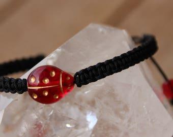 Bracelet Ladybug connector black nylon thread