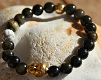 Bracelet with Golden Obsidian semi-precious beads Tibetan
