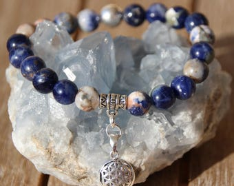 sodalite, calcite flower of life charm bracelet