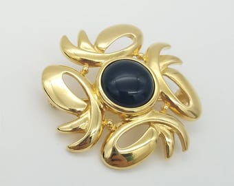Signed Monet Gold Tone & Black Enamel Abstract Swirl Brooch
