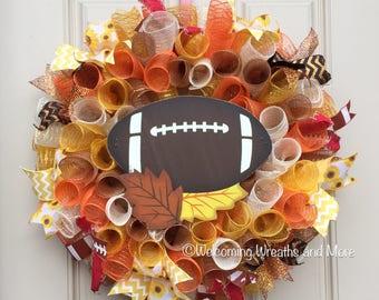 Fall Football Wreath, Fall Wreath, Football Wreath, Colorful Fall Wreath, Fall Mesh Wreath, Fall Door Wreath, Fall Mesh Wreath