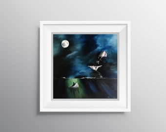 Fly Me to the Moon - Physical Print of Sting Rays Swimming in the Moonlight Painting (Multiple Sizes)