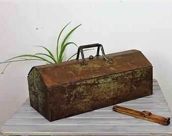 Vintage Metal Tool Box/Large Metal Box/Portable Metal Tool Box/Tool Storage Box/Tool/ SALE (Ref1967J)