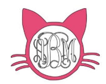 Cat monogram decal