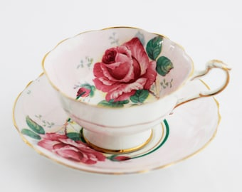 Beautiful 'double warrant' Paragon England pale pink and white teacup and saucer, gold gilt rim, featuring a full-blown pink Rose