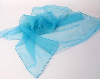 1950s Sheer Nylon Scarf Sky Blue