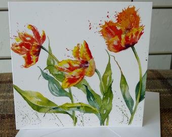 Dancing Tulips - A beautiful Greetings Card from a watercolour by Pauline Merritt