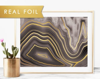 Black Agate Quartz with Real Gold Foil Art Print