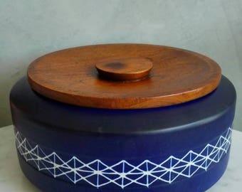 Jie Gantofta Vintage Container with Teak Lid. Midcentury Porcelain Swedish Design